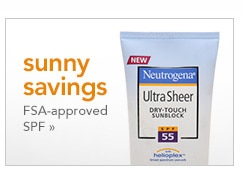 sunny savings, FSA-approved SPF