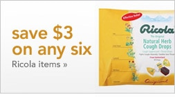 save 3 dollars on any six Ricola items