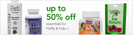 up to 50% off essentials for Fluffy & Fido