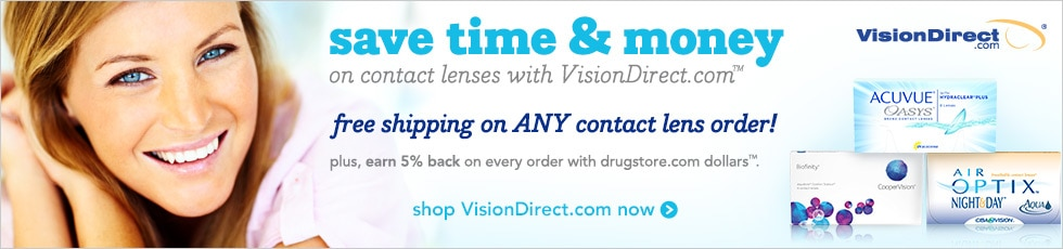 save time & money on contact lenses with VisionDirect.com! Free shipping on ANY contact lens order!