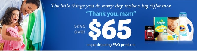 The little things you do every day make a big difference! Save over $65 on participating P&G products.