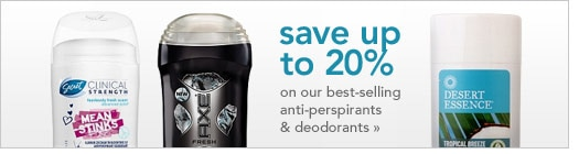 save up to 20% on our best-selling anti-perspirants & deodorants