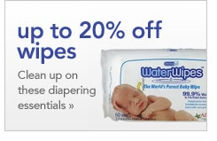 up to 20 percent off wipes clean up on these diapering essentials