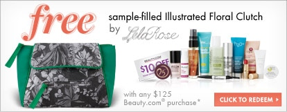 free sample-filled Illustrated Floral Clutch by Lela Rose