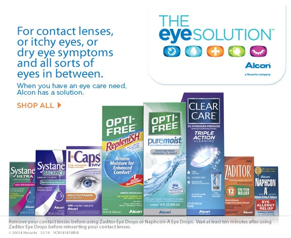 For contact lenses, or itchy eyes, or dry eyes, and all sorts of eyes in between