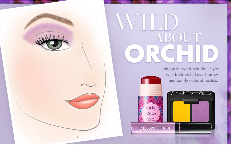 Wild about orchid  Indulge in sweet, standout style with bold orchid eyeshadow and candy colored pastels