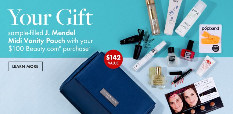Free sample-filled J. Mendel Midi Vanity Pouch