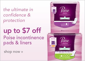 up to $7 off Poise incontinence pads and liners