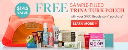 Free sample filled Trina Turk Sunset Pouch with $100 in-stock Beauty.com purchase