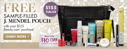 Free sample filled J. Mendel pouch with $125 in-stock Beauty.com purchase