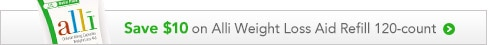 save $10 on Alli Weight Loss Aid Refill 120-count