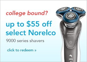 up to $55 off select Norelco 9000 series shavers, click to redeem