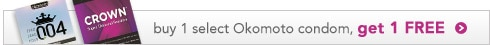buy 1 select Okomoto condom, get 1 free
