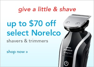 up to $70 off select Norelco shavers and trimmers