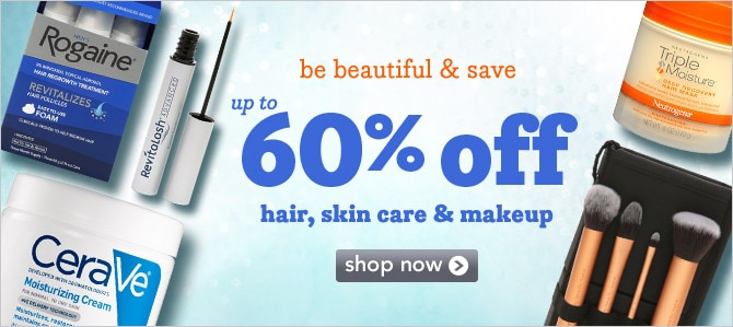 up to 60% off hair, skin care and makeup