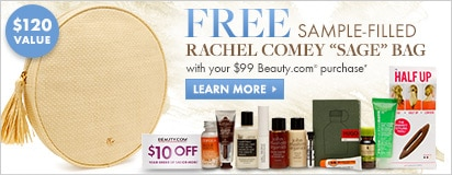 Free sample filled Sage bag by Rachel Comey with $99 in-stock Beauty.com purchase