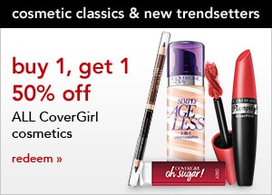 cosmetic classics & new trendsetters, buy 1, get 1 50% off all CoverGirl cosmetics, redeem