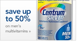 save up to 50% on men's multivitamins