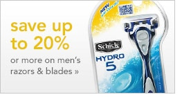 save up to 20% or more on men's razors & blades
