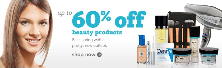 up to 60% off beauty products, face spring with a pretty, new look, shop now