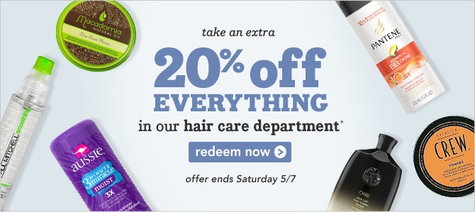Extra 20% off hair care click to redeem
