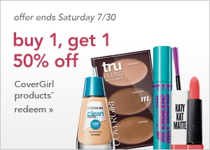 Buy 1 CoverGirl cosmetics get 1 50% off | offer ends Saturday 7/30, redeem