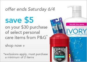 P&G offer ends Saturday 6/4 | exclusions apply, must purchase a minimum of 2 items