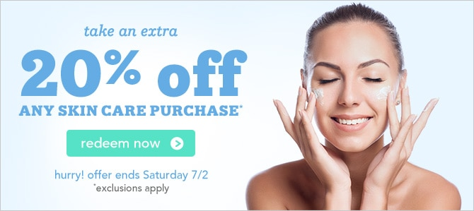 Click to redeem extra 20% off your skin care purchase, exclusions apply, ends Saturday 7/2