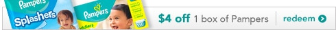 $4 off 1 box of Pampers, redeem