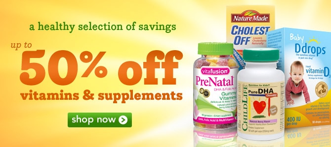 Up to 50% off vitamins and supplements