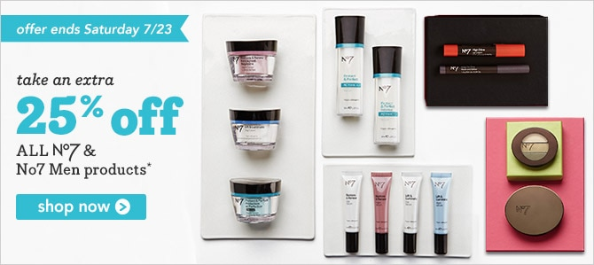 Extra 25% off all No7 and No7 Men products