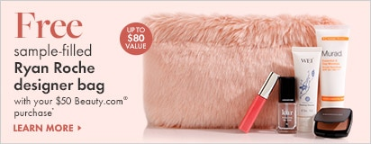 Free sample-filled Ryan Roche designer bag with $50 Beauty.com purchase