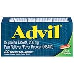 Advil Advanced Medicine for Pain, 200mg, Gel Caplets- 100 ea