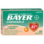 Bayer Low Dose Aspirin Pain Reliever 81 mg, Chewable Tablets, Orange- 36 ea