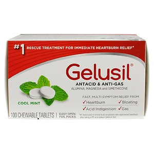 Gelusil Antacid, Anti-Gas Chewable Tablets, Mint- 100 ea
