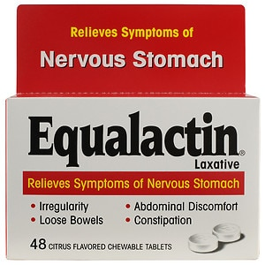 Equalactin Laxative Chewable Tablets, Relieves Symptoms of Nervous Stomach, Citrus- 48 ea