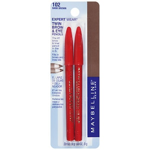 Maybelline Expert Eyes Twin Brow & Eye Pencils, Dark Brown 102