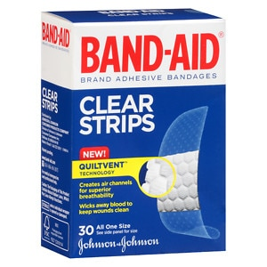 Band-Aid Clear Strips Adhesive Bandages, One Size