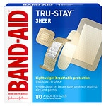 Band-Aid Sheer Comfort Sheer Adhesive Bandages, Assorted Sizes- 80 ea