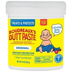 Boudreaux's Butt Paste, Orignal Diaper Rash Ointment Jar- 16 oz