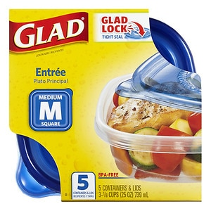 Gladware Food Storage Containers, Entree, 25 oz- 5 ea