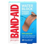 Band-Aid Tough-Strips Waterproof Bandages, One Size