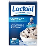 Lactaid Fast Act Lactase Enzyme Supplement, Caplets, Vanilla- 60 ea