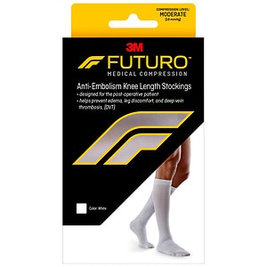 FUTURO Anti-Embolism Stockings, Knee Length, Closed Toe, White, Medium