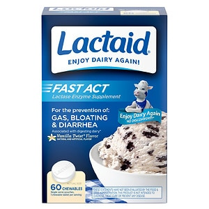 Lactaid Fast Act Lactase Enzyme Supplement, Chewable Tablet, Vanilla Twist