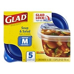 Glad Food Storage Containers, Soup & Salad, 24 oz