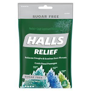 Halls Defense Sugar Free Drops, Assorted Mint- 25 ea
