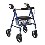 Medline Folding Walker, 8 in Wheels, Blue- 1 ea