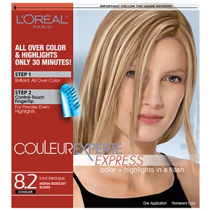 L'Oreal Paris Couleur Experte Express Easy 2-in-1 Color + Highlights, Iced Meringue, Medium Iridescent Blonde 8.2- 1 ea