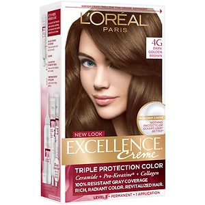 L'Oreal Paris Excellence Creme Triple Protection Color Creme Haircolor, Dark Golden Brown 4G